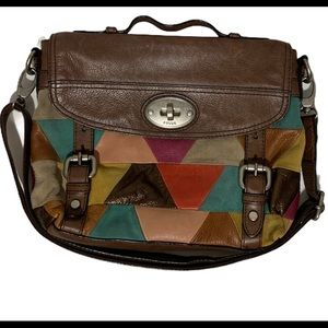 Fossil Maddox Messenger Bag Satchel Patchwork